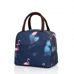 Сумка для ланча (ланч бэг) Фламинго на молнии с карманом, темно-синяя